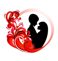 Couple in red floral frame vector
