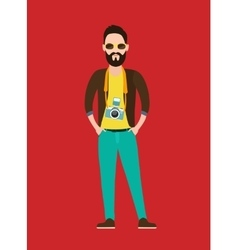 Hipster photographer journalist flat character vector