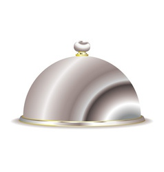 Silver food serving cloche vector