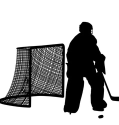 Silhouettes of hockey player goalkeeper vector