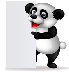Panda with blank sign vector