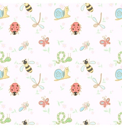 Seamless background with cartoon insects vector