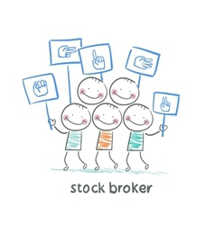 Stock broker holding a sign with his hand vector