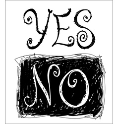 Sketchy words yes and no vector