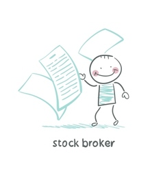 Stock broker with documents vector