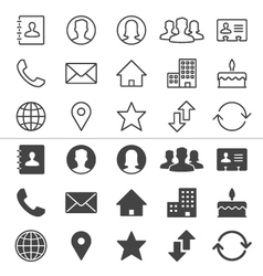 Contact thin icons vector