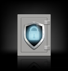 Metal safe with a shield which depicts a lock vector