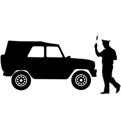 Silhouette police stopped a car with a rod vector