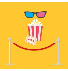 Red rope ticket popcorn 3d glasses flat vector