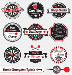 Darts champion labels and icons vector