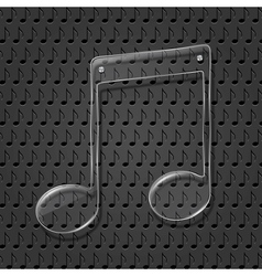 Glass music note sign vector