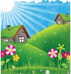 Sunny rural landscape vector
