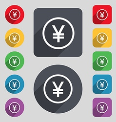 Japanese yuan icon sign a set of 12 colored vector