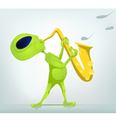 Cartoon alien saxophone vector