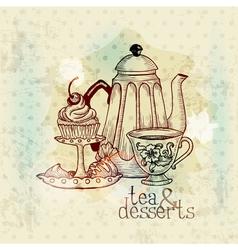 Tea and desserts - vintage menu card vector