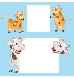 Funny cow with posters vector