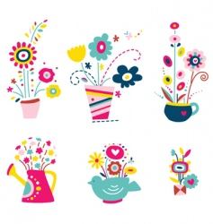 Collection of flowers in pots vector