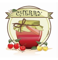 Sweet cherry jam jar vector