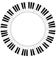 Round black and white piano keyboard frame vector
