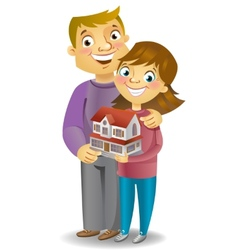 Couple with own house vector