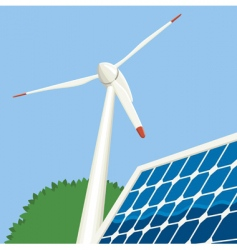 Wind turbine and solar panel vector