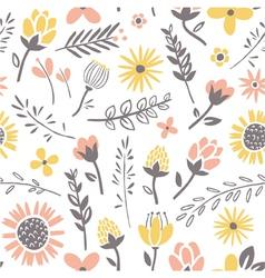 Field flowers pattern vector
