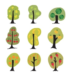 Garden fantasy trees set vector