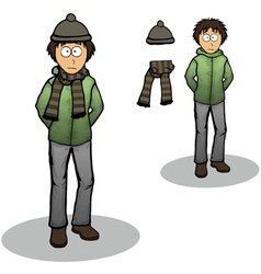 Boy in a winter jacket cartoon vector
