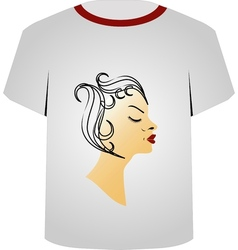 T shirt template- hairstyle vector