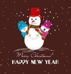 Merry christmas card with snowmans vector