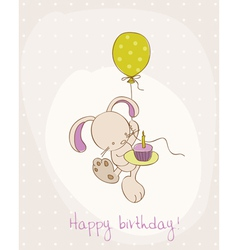 Greeting birthday card with cute bunny vector