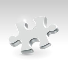 Silver jigsaw puzzle piece vector