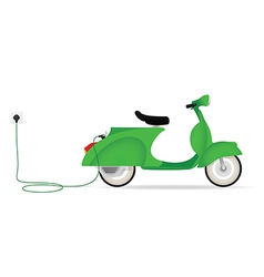 Vintage styled electric moped charging vector