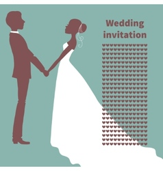 Wedding invitation silhouette of bride and groom vector
