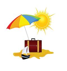 Umbrella and bag summer symbol vector