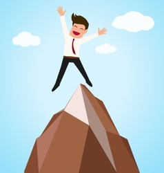 Happy businessman successful jumping on top of mo vector