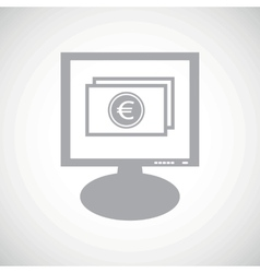 Euro bill grey monitor icon vector