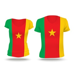 Flag shirt design of cameroon vector
