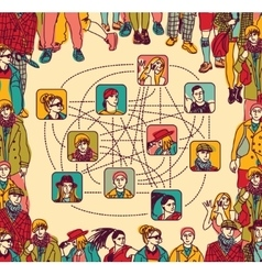Group people social network connection color vector