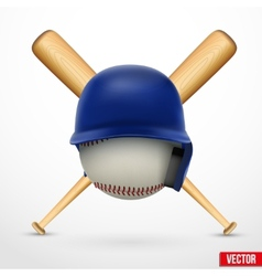 Symbol of a baseball helmet ball and two bats vector