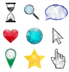 Set of polygonal icons vector