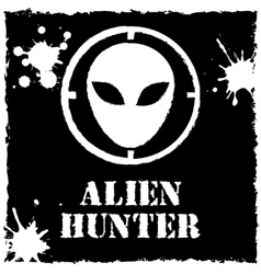 Alien hunter logo on black background vector