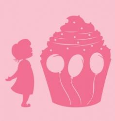 Girl and cupcake vector