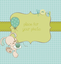 Baby greeting card with photo frame and place for vector