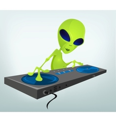 Cartoon alien dj vector