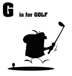 Golfer cartoon with silhouette vector