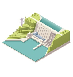 Isometric hydroelectric power station vector