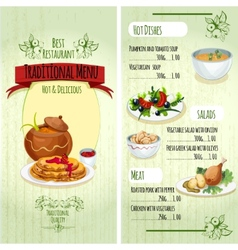 Traditional food menu vector