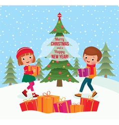 Children give christmas gifts vector