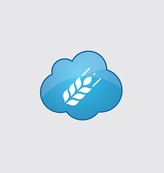 Blue cloud agriculture icon vector